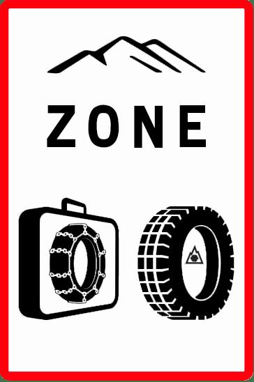 Panneaux B58 du code de la route français indiquant le début d'une zone où l'équipement hivernal est requis pour le véhicule.