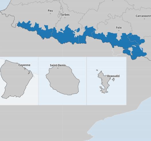 Carte des Pyrénées détaillant les zones l'application de la loi montagne.
