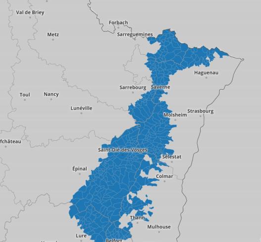 Carte des Vosges détaillant les zones l'application de la loi montagne.