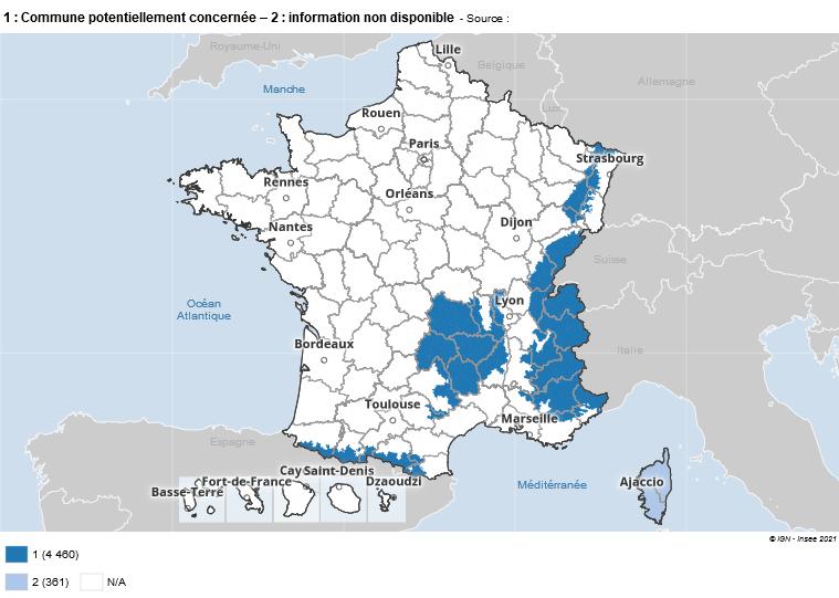 Carte de France de l'application de la loi montagne.