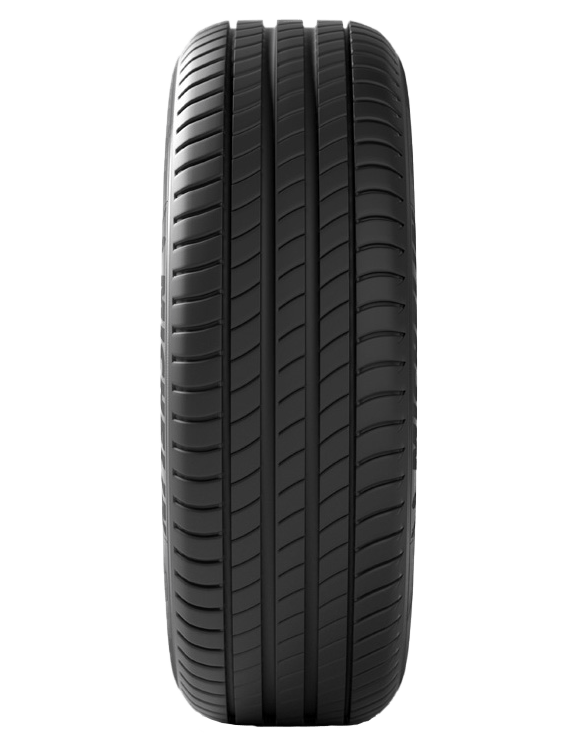 Pneu primacy de Michelin présenté de tranche exposant sa bande de roulement.